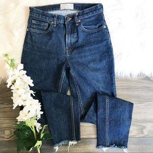 Everlane High Rise Raw Hem Skinny Jeans